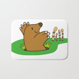 a Mole from the ground greets horsetail Bath Mat