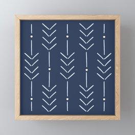 Arrow Lines Pattern in Navy Blue 2 Framed Mini Art Print