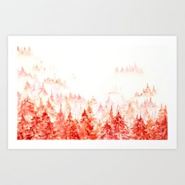 Pines Forest-abstract watercolor Art Print