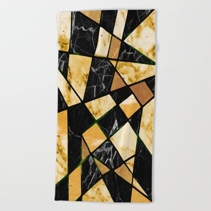 Abstract #460 Marble and Metal Beach Towel