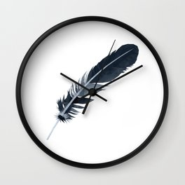 Black and White Feather polygon art Wall Clock