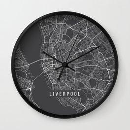 Liverpool Map, England - Gray Wall Clock