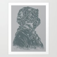 mozart Art Prints featuring Wolf Amadeus Mozart by Joshua Kemble