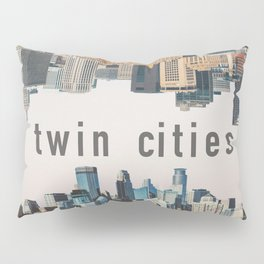 Twin Cities Minneapolis and Saint Paul Minnesota Skylines Pillow Sham
