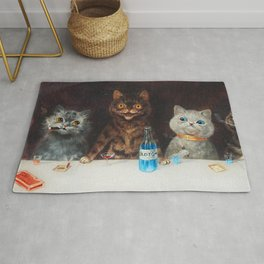 Old Tom Cat Bachelor Party Humorous Cat Print Rug