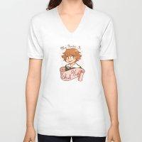 dangan ronpa V-neck T-shirts featuring My gender is... SHUT UP! by AMC Art