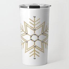 Silver and Gold 3-D look Snowflake Travel Mug
