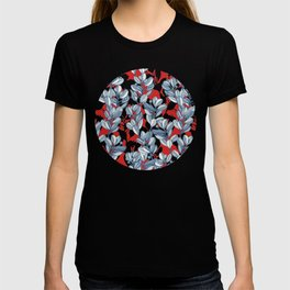 Leaf and Berry Sketch Pattern in Red and Blue T-shirt