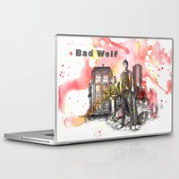 david tennant Laptop & iPad Skins featuring Doctor Who 10th Doctor David Tennant With Companion Rose Tyler by idillard
