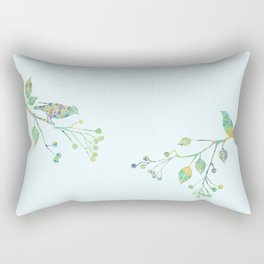 Birds on Branches Love Bird Couple Vintage Floral Pattern Green Yellow Blue Rectangular Pillow