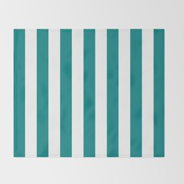 Vertical Stripes (Teal/White) Throw Blanket
