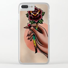 Hand holding a rose Clear iPhone Case