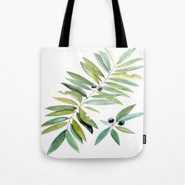 Leaves Berries Sage Green Turquiose Nature Art Floral Watercolor Tote Bag