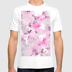 Purple grey floral watercolor romantic flowers pattern White Mens Fitted Tee MEDIUM