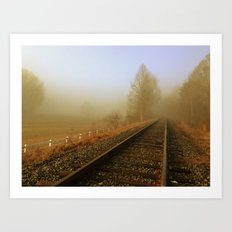 Foggy Rail Road Art Print