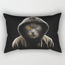 Cool Black Cat Hooded Pullover Rectangular Pillow