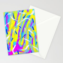 Spice It Up - yellow pink blue abstract painting brushstrokes modern pattern Stationery Cards
