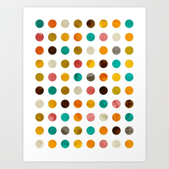 Autumnal polka dot Art Print