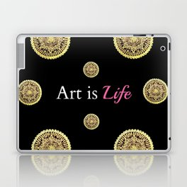 Gold and Black Art Is Life Mandala Repeated Graphic Design Laptop & iPad Skin