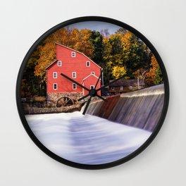 Historic Red Mill At Fall Clinton New Jersey Wall Clock