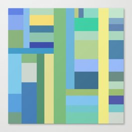 Abstract Blue Mint Green Geometry Canvas Print