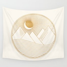 Golden Sunset Landscape with Mountains Wall Tapestry