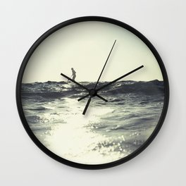 SUP board surfer at Sunset vintage Film simulation Wall Clock