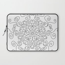 Gray Line Swirl Mandala Laptop Sleeve
