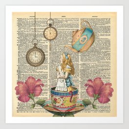 It's Always Tea Time - Alice In Wonderland Art Print