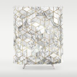 White marble geomeric pattern in gold frame Shower Curtain