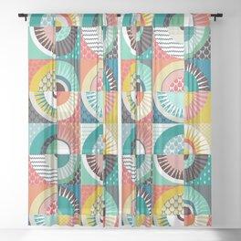 llama geo squares Sheer Curtain
