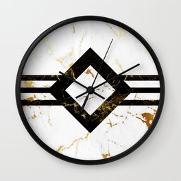 Abstract square golden marble pattern Wall Clock