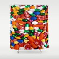 pills Shower Curtains featuring PILLS,PILLS,PILLS by Asano Kitamura