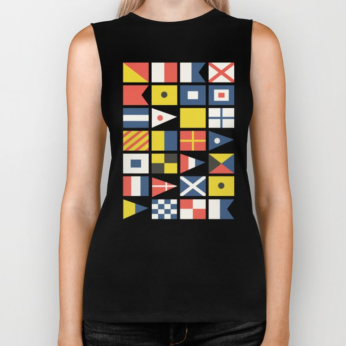 Geometric Nautical flag and pennant Biker Tank
