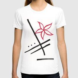 minimalist flower : red T-shirt