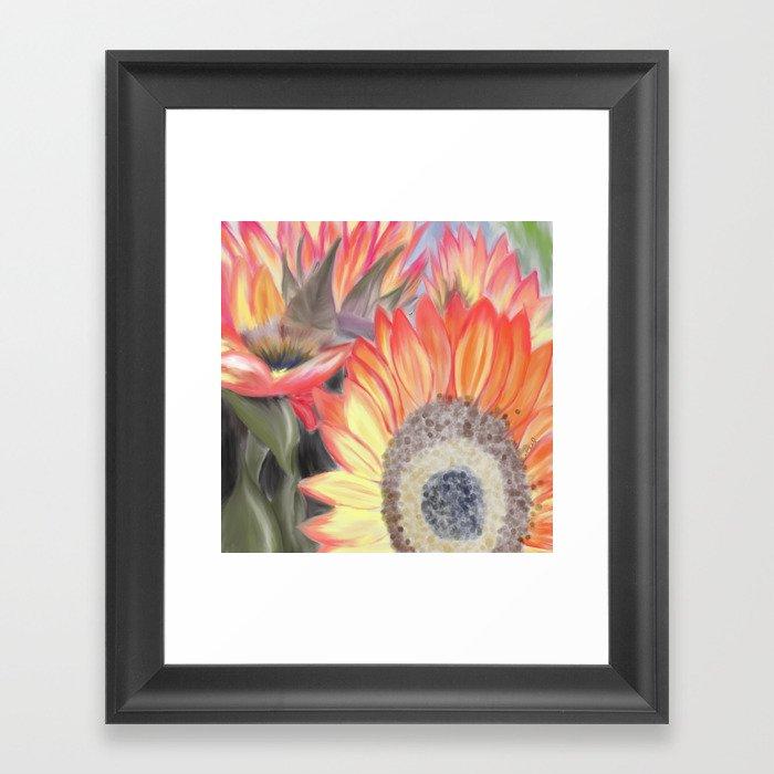 Fall Sunflowers Framed Art Print