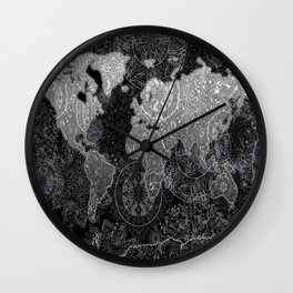 world map mandala black and white 3 Wall Clock