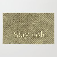 stay gold Area & Throw Rugs featuring Stay Gold by Kelsey Roach