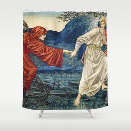 Love leading the Pilgrim Tapestry (1909) by William Morris Shower Curtain