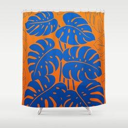 PLANTS - Philodendron#1_Orange bgr Shower Curtain