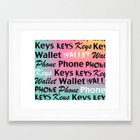 wallet Framed Art Prints featuring Phone Keys Wallet 2 by bitobots