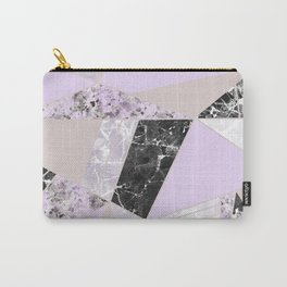 Geometrical black white lavender abstract marble Carry-All Pouch