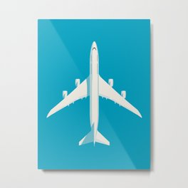 747-8 Jumbo Jet Airliner Aircraft - Cyan Metal Print