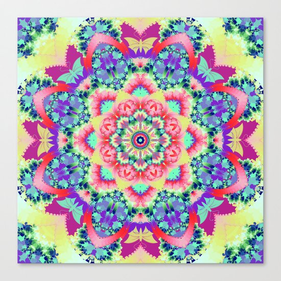 Whimsical floral kaleidoscope with butterflies Canvas Print