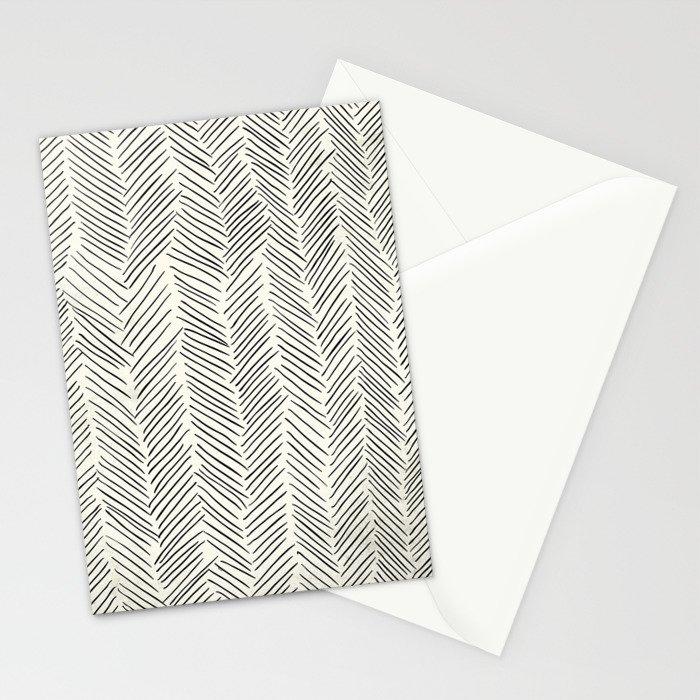 Herringbone Black on Cream Stationery Cards