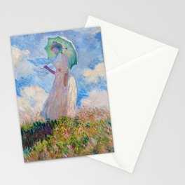 Claude Monet - Woman with a Parasol facing left Stationery Cards