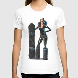 Snowboard babe - All black T-shirt