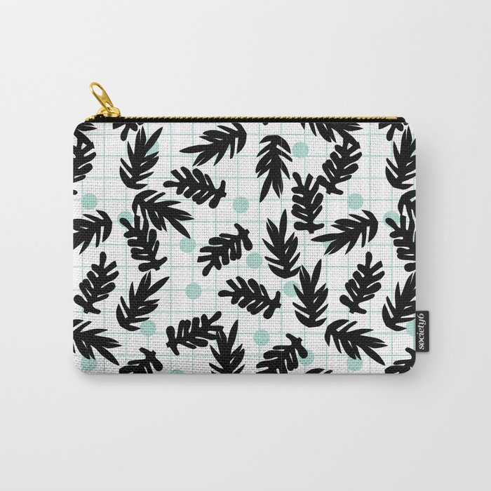 Dotty - black and mint modern pattern grid modern pattern print design urban brooklyn  Carry-All Pouch