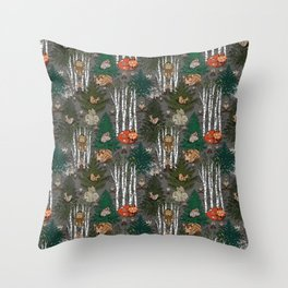 Sleepy Scandinavian Forest Throw Pillow