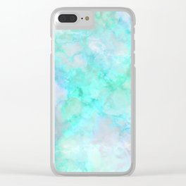 Irridescent Aqua Marble Clear iPhone Case